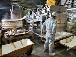 Inside the sake brewery