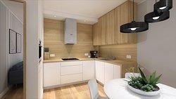 Aneks kuchenny w apartamencie w skandynawskim stylu.