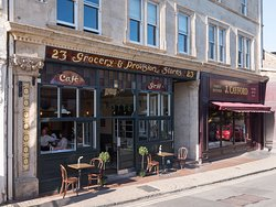 The exterior of Bistro Lotte on Catherine Street in Frome - in summer we have tables outside so you can dine or enjoy a coffee al fresco!