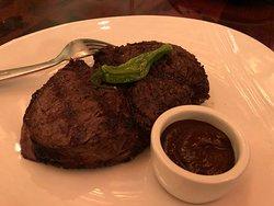 Ribeye steak with house steak sauce