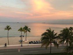 Sunset beach/ocean/boulevard view from room