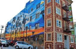 Mural on the side of Venice Suites