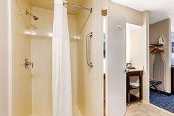Walk-in shower in bathroom