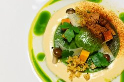 Parsley & Wild Mushrooms Ravioli, Smoked Potato Foam, Pickled Shimeji, Squash, Pecorino