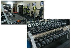 Surprisingly well equipped gym with lots of (heavy) free weights.