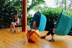 Lounge areas on the deck of Casa Bulu