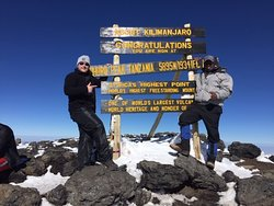 Uhuru peak, the highest point in Africa. On top of Kili, the 4th highest mountain in the world!!