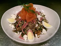 Smoked Lox Salmon Quinoa Bowl Fresh kale, quinoa, cherry tomatoes, avocado and candied walnuts tossed in our lemon vinaigrette. Topped with goat cheese, pickled onions, egg, capers and wild lox salmon. 17.99  Come join us the week!
