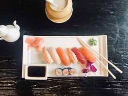 sushi and coconut soup, what a combination, asian mix