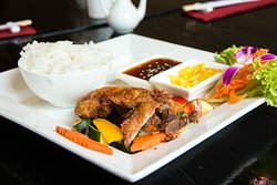 fried duck with fresh vegetables
