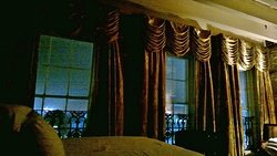 When I said we had huge windows, I wasn't kidding. The drapes pulled easily to prevent the morning sun from pouring in.