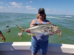 The fishing was great.  20 lb Jack fish.  We caught 12 assorted fish during our trip.  We even had a shark bite one this size in half on the way up!
