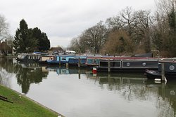 Canal boats near the cafe