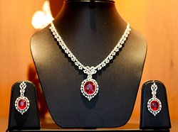Ruby & diamond necklace & earring set