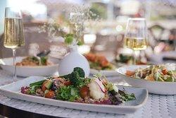 Vegan salad with beetroot hummus