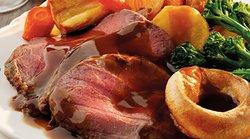 Roast Sunday Beef - organic veggies, Yorkshire Pudding, gravy made from scratch