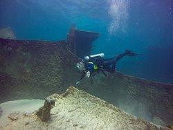 Scuba diving the Astron Wreck in Punta Cana.