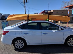 Double kayak on a Nissan Sentra