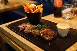 Spiral cut fillet steak with béarnaise sauce.