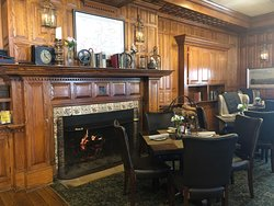 The wood burning fireplace is a favorite of many locals and guests.
