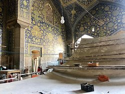Restoration works inside Shah Mosque in Isfahan.