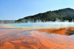 Grand Prismatic with Fairy Falls Trail viewing platform on hill