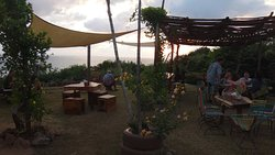 The eating/drinking area at sunset