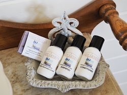 Local handcrafted bathroom amenities by Emz Blends for Lady Geneva.