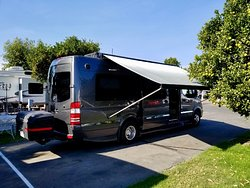 Our 24-foot camper van fits easily into the spot. Hookups are easy to reach.