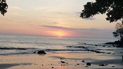 The beach has beautiful sunset views
