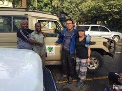 Jackie Kong with our crews just come back from 6 days safari Tarangire,Serengeti,Ndutu and Ngorongoro crater