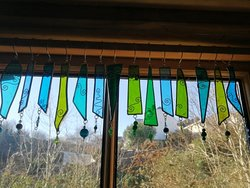 Stained glass window valance