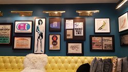 Lobby with rock posters and memorabilia.