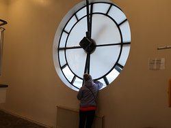 Looking through the lower floor of the Observation Tower.  There are actually four clocks.