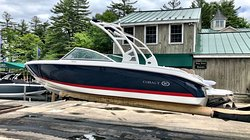One of our Cobalt Boat rentals getting ready to head out on the water with one of our satisfied rental customers. All of our rentals are 2019 models equipped with on-board GPS Navigation and no dealer markings - no one will know you're on a rental boat!
