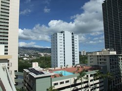 Balcony View - Looking Northeast  Ala Wai Golf Course and Market City Shopping Center in distance
