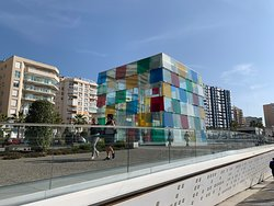 Sadly, we simply did not have time to visit the Centre Pompidou in Malaga within our five day visit. However, we will be back in the City and the Centre is on our list. This structure above the entrance certainly catches the eye.