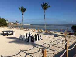 it is not on a beach but this the beach area they have made with lounge chairs, ping pong and chess