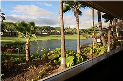 Inside Roy's Restaurant with spectacular view of beautiful Ko Olina golf course