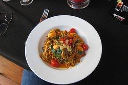 Prawn, chilli and chorizo linguine pasta.