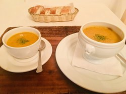 Carrot soup and Pez Leon Ceviche!