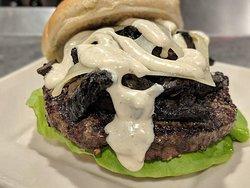 Mushroom & Swiss #AGAVEkitchen   Choose from 4 different proteins Burger - Ground Turkey - Chicken Breast - Black Bean Veggie