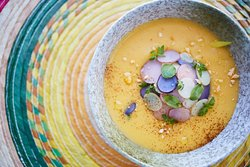 Locro Andino // Potato soup, avocado, achiote sofrito