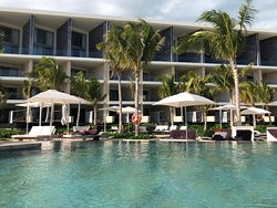 Views of the one and only pool at TRS Coral.