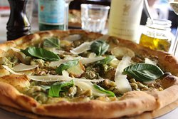 Chicken Pesto Shaved Parmesan Gourmet Woodfire Pizza