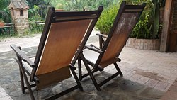Deck chairs on the patio