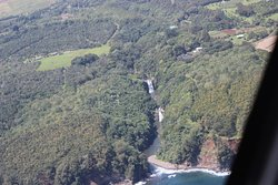 Helicopter view of a waterfall just outside Hilo.