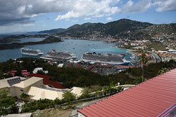 The St Thomas port taken from the top of Paradise Point.