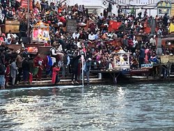 A busy Har Ki Pauri Ghat during the evening Arti. Busy yet peaceful, blissful, musical and full of serenity.