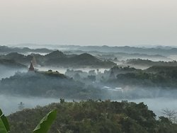Beautiful, breathtaking panoramic view of Mrauk-U in the morning. Intended to watch sunrise but it was too foggy. However, this is the best morning view I have ever seen in Myanmar so far.